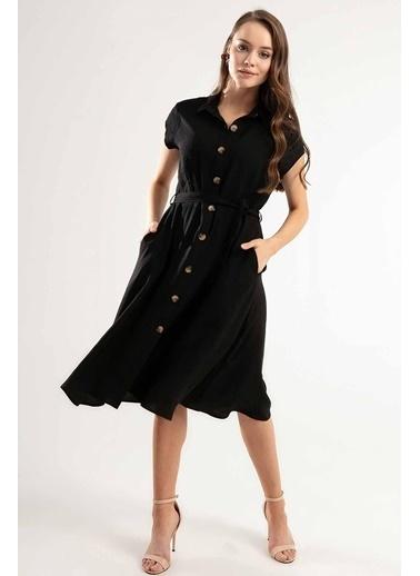 Pattaya Pattaya Kadın Kuşaklı Kısa Kollu Kloş Gömlek Elbise Y20S110-1677 Siyah